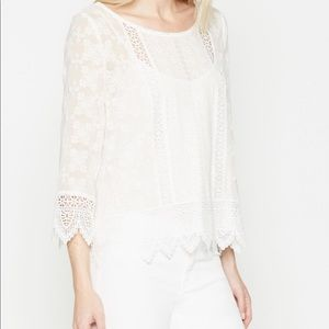 Joie white lace top